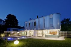 Stunning Curved Interior House Design Ideas With Round Lawn Light Also White Curtain And Rectangular Swimming Pool