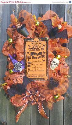 PRE-SEASON SALE The Crossbones Inn Deco Mesh Hallowe'en swag by SparetimeSpecialties on Etsy https://www.etsy.com/listing/241457012/pre-season-sale-the-crossbones-inn-deco