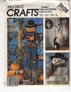 Halloween Black Cat Pumpkins Ghost Snowman McCalls Sewing Pattern 2628 Uncut