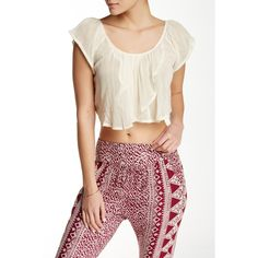 Billabong Festival Sol Crop Top ($18) ❤ liked on Polyvore featuring tops, cool wip, billabong, scoopneck top, billabong tops, scoop neck crop top and gauze tops