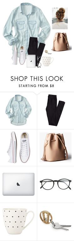 """This outfit is so me "" by raquate1232 ❤ liked on Polyvore featuring Aéropostale, H&M, Converse, RetroSuperFuture and Kate Spade"