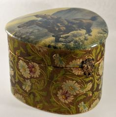 Victorian Celluloid Collar Box With Pony Express Rider   314 by RedOakRambler on Etsy