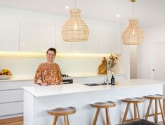 We take a look through Andy and Deb's real life Mid North Coast home Easy Bathroom Updates, Simple Bathroom, Bathroom Interior, Kitchen Interior, Kitchen Design, Floating Wall Unit, Houses Architecture, Timber Vanity, Small Sectional