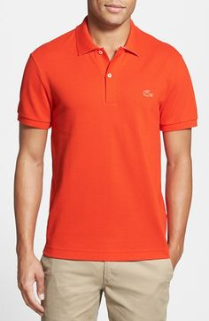 Lacoste Piqué Polo with Rubber Logo available at #Nordstrom