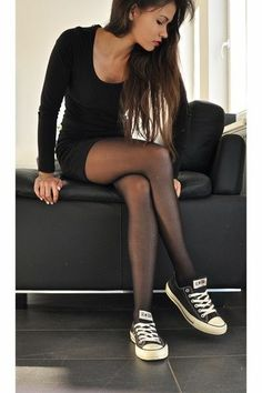 tights and sneakers.- this would be cute with yhe sparkly ones I just pinned