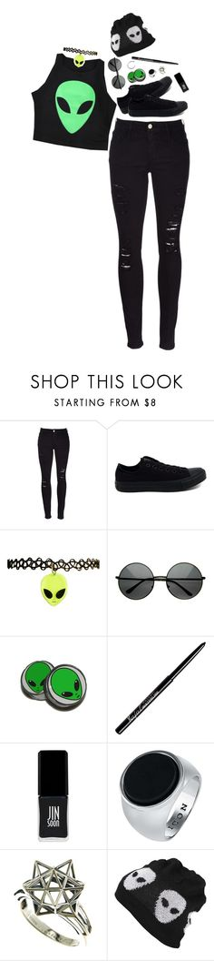 """""""out of this fckin' world squad - ash"""" by un-iversal ❤ liked on Polyvore featuring Frame, Converse, JINsoon, John Brevard and Evil Twin"""