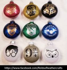 Fields Of Heather: Harry Potter Christmas Ornaments With Cricut (Free SVGS) Vinyl Christmas Ornaments, Harry Potter Christmas Decorations, Harry Potter Ornaments, Harry Potter Christmas Tree, Hogwarts Christmas, Ornament Crafts, Christmas Crafts, Cricut Ornament, Diy Christmas Baubles