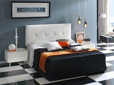 cabeceros originales, dormitorio moderno con paredes en azul, cuadro minimalista y cama funcional blanca con cabecero de piel, suelo con azulejos de mármol