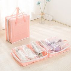 Material:Nylon Lining Material:Polyester Color:Blue, Red,Pink,Green Structure: 6 shoes pocket Closure:Zipper Package Include: 1 * Bag Bra Storage, Shoe Storage Bags, Shoe Organizer, Bag Organization, Baby Girl Wedding Dress, Ikea Alex, Oxford, Luggage Sets, Online Bags