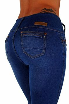 c40cdcb123a Style G339P Plus Size Colombian Design High Waist Butt Lift Skinny Jeans in  Washed Blue Size. Womens ...