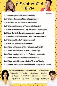 Could this Friends Trivia be any more harder? Check out if you know everything about your favorite sitcom. Friends Trivia, Questions For Friends, Trivia Questions And Answers, Friends Episodes, Friends Moments, Friends Series, This Or That Questions, Tv Quiz Questions, Friends Show Quotes