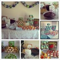 Storybook themed baby shower for my bff. I used grape punch for Harold and the Purple Crayon, ham sandwiches and green deviled eggs for Green Eggs and Ham, veggies and dip for Peter Rabbit, pasta salad for Strega Nona, meatballs for Cloudy with a Chance of Meatballs, and then sugar cookies topped with whipped cream and strawberries for the Mouse, Strawberry, and the Big Hungry Bear. Super fun to plan!