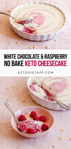 Sugar-free white chocolate cheesecake swirled with tangy raspberry cream. This light and airy low-carb dessert is easy to make with no baking and no crust required! Keto No Bake Cheesecake, Mint Cheesecake, White Chocolate Raspberry Cheesecake, Sugar Free White Chocolate, White Chocolate Chips, Chocolate Flavors, Low Carb Sweeteners, Fat Bombs, Strawberries And Cream