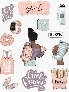 """""""yes you can, power girl, you go girl, """" Sticker by Preppy Stickers, Cute Laptop Stickers, Kawaii Stickers, Cool Stickers, Printable Stickers, Journal Stickers, Scrapbook Stickers, Planner Stickers, Homemade Stickers"""