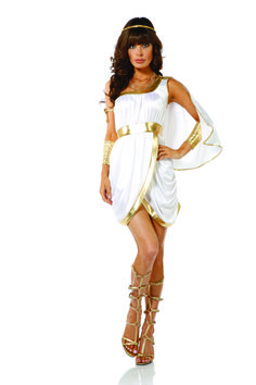 Every blade of grass you walk on will be worshiped as you glide around wearing our Immortal Beauty Sexy Goddess Costume. Featuring a gold-accented elegant dress that flows with sexiness and includes shimmering gold accessories. Godess Costume, Toga Costume, Greek Goddess Costume, Adult Costumes, Costumes For Women, Cosplay Costumes, Goddess Halloween Costume, Halloween Costumes, Halloween Couples