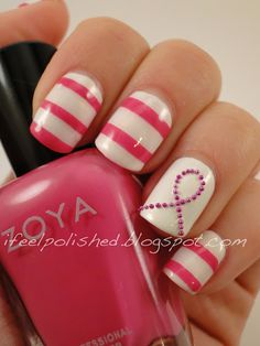 Breast Cancer Awareness Nails - may do this design come October