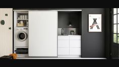 Hidden Laundry, Laundry Closet, Laundry Room, Wardrobe Cabinets, Modern Kitchen Design, Beautiful Interiors, Small Bathroom, Home Remodeling, Tall Cabinet Storage