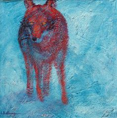 colorful blue red contemporary wolf print for sale Animal Paintings, Fine Art Paper, Wolf, Lisa, Colorful, Contemporary, Creative, Prints, Red