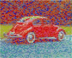 Vw Bug Pez Mosaic Digital Art  - Vw Bug Pez Mosaic Fine Art Print