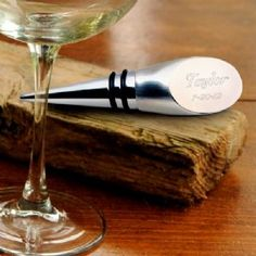 Personalized Engraved Stainless Steel Wine Bottle Stopper comes in a stainless steel design with the top being personalized and engraved to share the joy of your celebration with this keepsake gift.