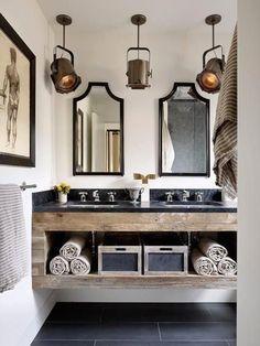 ванная в индустриальном стиле с прожекторами