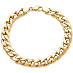 Men's Heavy Curb Link Bracelet in 10k Gold (2,740 CAD) ❤ liked on Polyvore featuring men's fashion, men's jewelry, men's bracelets, yellow gold, mens bracelets, mens curb chain, mens yellow gold bracelets, mens gold bracelets and mens heavy gold bracelets