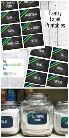 Free Printable Pantry Labels | Organize your Pantry with free printable labels. Pantry Jar labels by UrbanBlissLife for TodaysCreativeLife.com