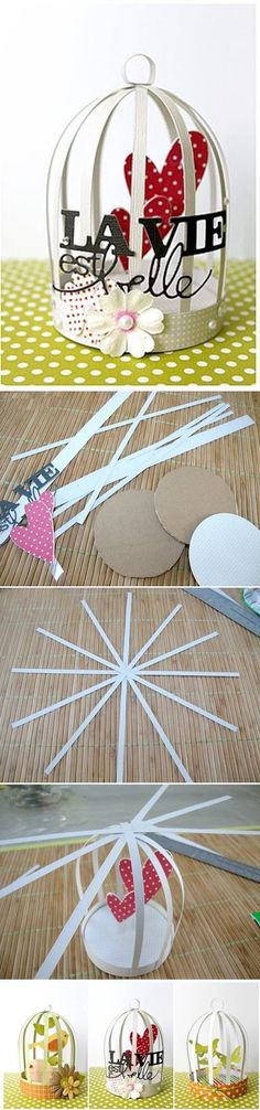 How To Make Mini Decorative Cage. This would be a cool idea to do for a garland in a kids room.