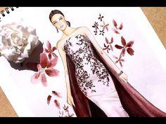 Fashion design - Haute couture sketch - YouTube