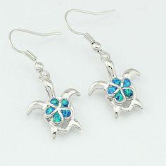Fire Opal Turtle Earrings