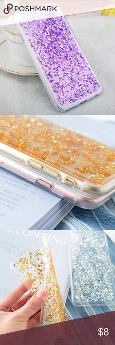 iPhone Purple Glitter Foil Case Brand new soft tpu clear case with foil and glitter! Available for many iPhone models Accessories Phone Cases