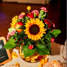 Apple and sunflower centerpiece