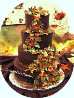 Autumn Leaves Fall Wedding Cake iced in Chocolate Butter Cream