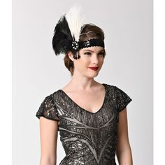 Unique Vintage Black Feather & Ivory Peacock Beaded Drop Sequin... ($30) ❤ liked on Polyvore featuring accessories, hair accessories, multicolor, stretchy headbands, stretch headbands, flapper feather headband, head wrap headband and peacock feather hair accessories