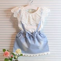 Cool 2 pcs Kids Girls Lace Collar Sleeveless Top T-Shirt + Denim Skirt Baby Outfits Clothing Set - $20.01 - Buy it Now!