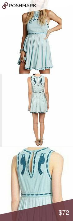 Free People Birds Of A Feather Mini 6 SeaFog NWT Free People Birds Of A Feather Mini Dress Size 6 Sea Fog Color With Tonal Embroidery NWT, Crew Neckline, Button Loop Closure & Keyhole Opening At Back, Completely Lined, Baby Doll Silhouette, Pleated Skirt, Hits At Thigh, Concealed Side Zipper Closure, Shell 1 Exterior 100% Viscose,  Shell 2 100% Cotton, Lining 100&% Rayon, Embroidery100% Cotton ***Please Note Dress Top Runs Very Small, For Larger Chests Size Up At Least One Size*** Free…