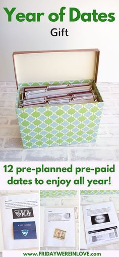 Year of Dates Gift- 12 pre-planned pre-paid dates, one for each month of the year to enjoy all year   12 months of dates   romantic gift idea