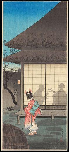 Shotei, Takahashi (1871-1945) - Tea Pavilion in the Night - 夜の寮