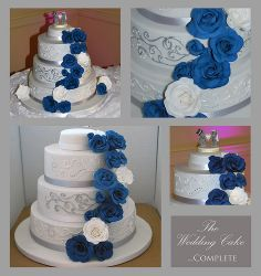 Silver and Blue Wedding Cake - Jesse says change the roses to a road for the motorcycle