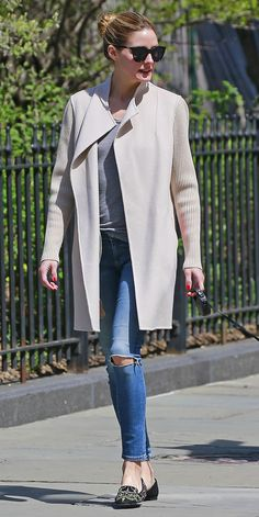 Olivia Palermo Wears Perfect Laid-Back Look While Walking Her Dog in N.Y.C. from InStyle.com