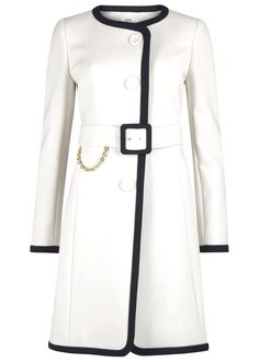 PAULE KA white polyester blend coat: Contrast navy trims, padded shoulders, chain embellished buckle fastening waist belt, fully lined and concealed press stud fastenings through front.