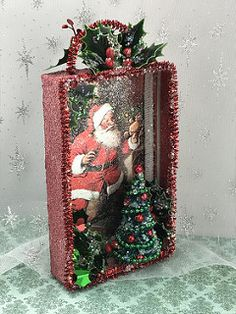 Christmas card shadowbox - New Ideas Vintage Christmas Crafts, Christmas Card Crafts, Retro Christmas, Homemade Christmas, Christmas Projects, Christmas Art, Holiday Crafts, Christmas Holidays, Christmas Decorations