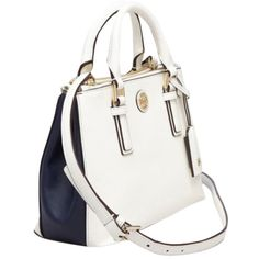 Pre-owned Tory Burch Robinson Color Block Mini Double Zip Tote... ($410) ❤ liked on Polyvore featuring bags, handbags, tote bags, ivory white navy blue, navy blue tote bag, tote handbags, tote purse, colorblock tote and tory burch purse