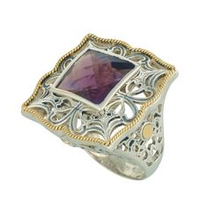 Coronation Day (CD003) Breathtaking square shaped sterling silver ring set to perfection with an amethyst stone topped off with luscious 18k gold. Gorgeous. Wide band.