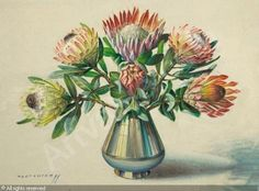 Proteas in a Silver Vase (Tretchikoff) Retro Artwork, Flower Painting, Amazing Art, Artist, Painting, Protea Art, Selling Art, South African Artists, Art World