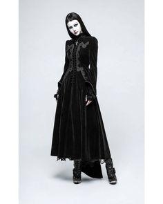 Punk Rave | Sanctuary Long Velvet Coat Black