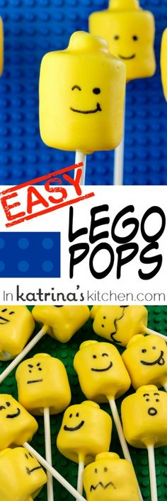 Quick and easy Marshmallow Lego Pops for birthdays and class treats. So simple that kids can help too!