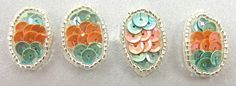 """Egg for Easter Set of Four Peach and Turquoise Sequins 1"""" x .5"""""""