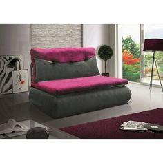 Rozkládací pohovka s úložným prostorem v kombinaci šedá ekokůže fialová látka KN019