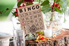 Table Numbers ~ Using a BINGO card. So so so cute! Photography by laurenbphoto.com